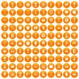 100 awards icons set orange. 100 awards icons set in orange circle isolated on white vector illustration Vector Illustration