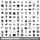 100 awards icons set, simple style. 100 awards icons set in simple style for any design vector illustration Royalty Free Stock Photography