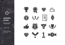 Awards Icons. Vector Set of prizes and Trophy Signs. Hipster Designs for Labels, Badges and Logos Royalty Free Stock Image