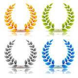 Awards And Laurel Leaves Wreath Set Stock Images