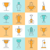 Awards Line Icons Set. With sport cups flat  vector illustration Royalty Free Stock Photos