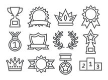 Awards Line Icons. On white Stock Image
