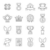 Awards medals cups icons set, outline style Stock Image