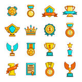 Awards medals cups icons set, simple style Royalty Free Stock Photo