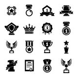 Awards medals cups icons set, simple style Stock Photography