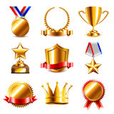 Awards and medals icons vector set Royalty Free Stock Image