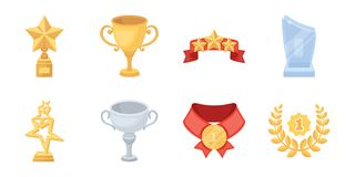 Awards and prizes icons in set collection for design.. Awards and prizes icons in set collection for design.Reward aa achievement vector symbol stock Stock Photo