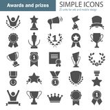 Awards and prizes simple icons set for web and mobile design. Awards and prizes simple icons set Royalty Free Stock Photography