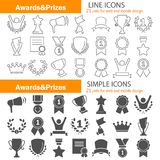 Awards and prizes simple and line icons set for web and mobile design. Awards and prizes simple and line icons Royalty Free Stock Image