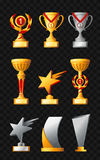 Awards - realistic vector set of trophies. Awards - realistic modern vector set of different trophies, cups. Black background. Use this high quality clip art for Stock Photos