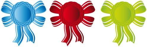 Awards ribbons. Three color awards ribbons, blue, red, green Stock Photography
