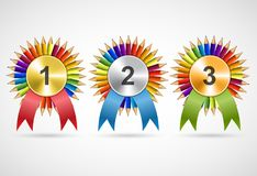 Awards rosettes with pencils. Modern, isolated medals. Vector illustration Stock Photos