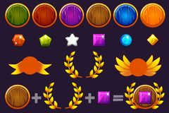 Awards round Shield and Gems set, Constructor to create kit different Awards. For game, user interface, banner stock illustration