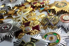 The awards of the Russian Empire stock photography