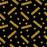 Awards seamless pattern black back. Seamless pattern of trophy sports awards in flat design style. Sports and business awards vector. Victory prize cup Stock Images