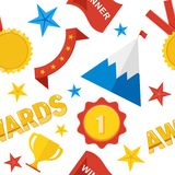 Awards seamless pattern color. Seamless pattern of trophy sports awards in flat design style. Sports and business awards vector. Victory prize cup achievement Royalty Free Stock Photography
