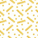 Awards seamless pattern. Seamless pattern of trophy sports awards in flat design style. Sports and business awards vector. Victory prize cup achievement and Stock Photos