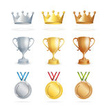 Awards Set. Vector. Awards Set. Three Places Winners. Crown, Cup and Medal. Vector illustration Stock Photos