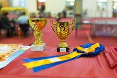 Awards. Some awards on a table stock photos