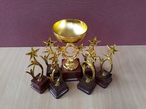 Golden award cups Trophys stock photos