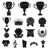 Awards and trophies black icons in set collection for design.Reward and achievement vector symbol stock web illustration. Awards and trophies black icons in set Royalty Free Stock Photography