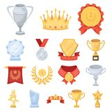 Awards and trophies cartoon icons in set collection for design.Reward and achievement vector symbol stock web. Awards and trophies cartoon icons in set Stock Photos