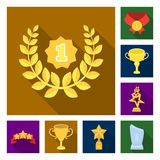 Awards and trophies flat icons in set collection for design.Reward and achievement vector symbol stock web illustration. Awards and trophies flat icons in set Royalty Free Stock Images