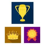 Awards and trophies flat icons in set collection for design.Reward and achievement vector symbol stock web illustration. Awards and trophies flat icons in set Stock Images
