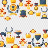 Awards and trophies  icons background. Stock Photos
