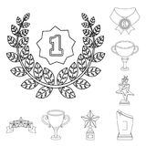 Awards and trophies outline icons in set collection for design.Reward and achievement vector symbol stock web. Awards and trophies outline icons in set Royalty Free Stock Images