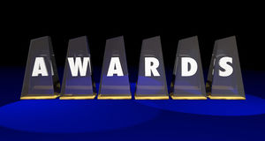 Awards Trophies Prizes Competition Top Honors. 3d Illustration Stock Photography