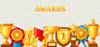Awards and trophy background. Reward items for sports or corporate competitions Stock Image