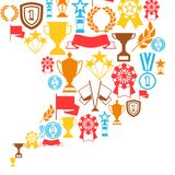 Awards and trophy background. Reward items for sports or corporate competitions Stock Photography