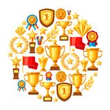 Awards and trophy background. Reward items for sports or corporate competitions Stock Images