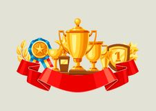 Awards and trophy background. Reward items for sports or corporate competitions Royalty Free Stock Photography