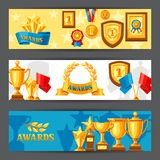 Awards and trophy banners. Reward items for sports or corporate competitions Stock Photos