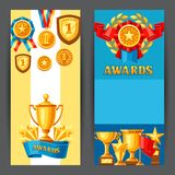Awards and trophy banners. Reward items for sports or corporate competitions Royalty Free Stock Photo