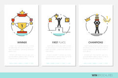 Awards and Trophy Business Brochure Template with Linear Thin Line Icons Stock Photos