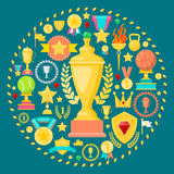 Awards and Trophy Icons with Cup Medal Prize. Winner Champion Concept Royalty Free Stock Images