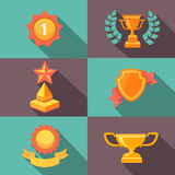 Awards and trophy icons  flat vector illustration Royalty Free Stock Image