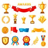 Awards and trophy icons set. Reward items for sports or corporate competitions Royalty Free Stock Photography