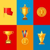 Awards and trophy icons set. Reward items for sports or corporate competitions Stock Photos