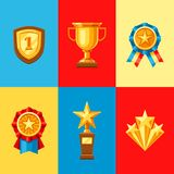 Awards and trophy icons set. Reward items for sports or corporate competitions Stock Photography