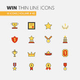 Awards and Trophy Linear Thin Line Icons with Cup Medal Prize Royalty Free Stock Photography
