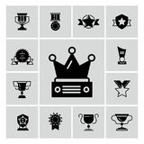 Awards, trophy and prizes black icons stock illustration