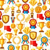 Awards and trophy seamless pattern. Reward items for sports or corporate competitions Royalty Free Stock Photos