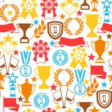 Awards and trophy seamless pattern. Reward items for sports or corporate competitions Stock Photography