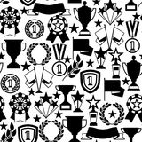 Awards and trophy seamless pattern. Reward items for sports or corporate competitions Stock Images