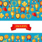Awards and trophy seamless pattern. Reward items for sports or corporate competitions Royalty Free Stock Image