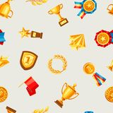Awards and trophy seamless pattern. Reward items for sports or corporate competitions Royalty Free Stock Photo